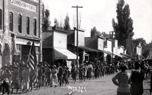 Black and white photo of County Fair parade